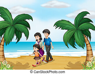 A family walking at the beach - Illustration of a family...
