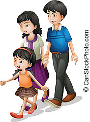 A family walking - Illustration of a family walking on a...