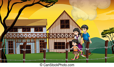 A family walking in front of the wooden houses