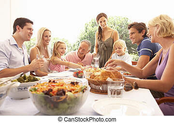 A family, with parents, children and grandparents, enjoy a picnic