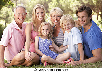 A family, with parents, children and grandparents, relaxing...