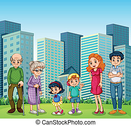 A family with the grandparents in front of the building -...