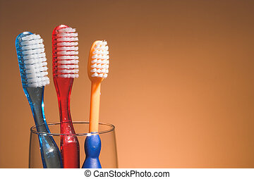 A family's toothbrushes in a glass container.