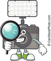 A famous of one eye photo camera with lighting Detective cartoon character design