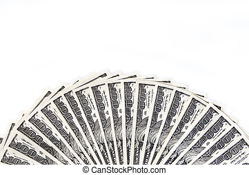 A fan of one hundred dollar bills on the long side. White background. Isolated.