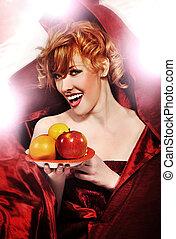 a, fantasi, foto, av, ung kvinna, holdingen, frukter