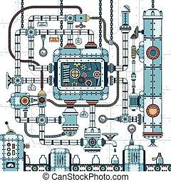 fantastic complex steampunk machine