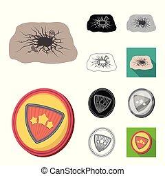 A fantastic superhero cartoon,black,flat,monochrome,outline icons in set collection for design. Superhero equipment vector symbol stock web illustration.