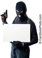 a, farlig, beväpnat, bandit, holdingen, en, inskrift, affisch