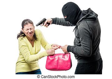a, farlig, beväpnat, rånare, steals, a, väska, från, a, kvinna