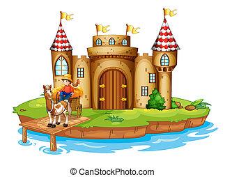 A farm boy riding in his cart at the bridge near the castle