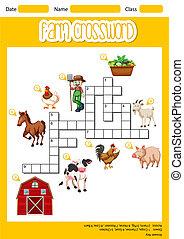 A farm crossword sheet illustration