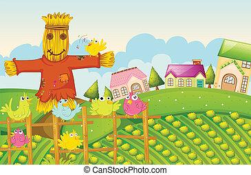a farm - illustration of a farm in a beautiful nature