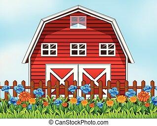 A farm house scene illustration