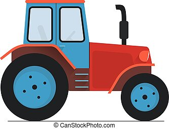 red blue Tractor isolated on white flat vector illustration