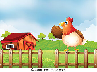 A farm with a hen at the fence