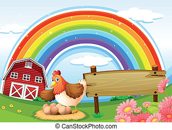 A farm with a rainbow and an empty signboard