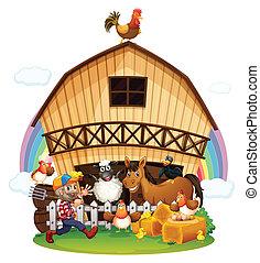 A farm with farm animals