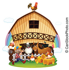 A farm with farm animals
