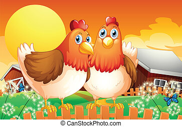 A farm with two hens above the fence