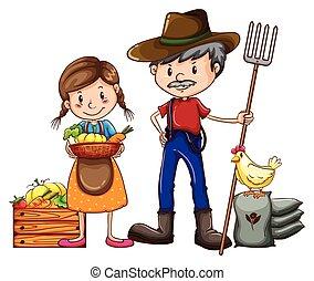 A farmer and a vendor - A farmer holding a rake and a vendor...