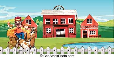 A farmer at farmland illustration