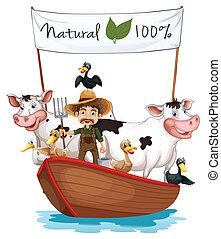 A farmer on a boat with his animals