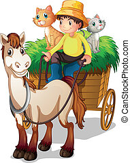 A farmer riding in a strawcart with his farm animals - ...