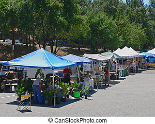 A Farmers Market - A farmer\\\'s market in a small town.