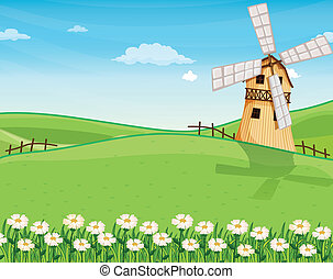 A farmhouse above the hills with a windmill