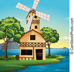 A farmhouse with a windmill - Illustration of a farmhouse...