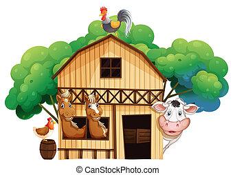 A farmhouse with animals