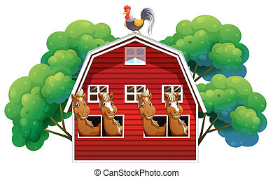A farmhouse with four horses and a rooster
