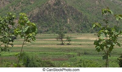 A farmland in a valley - An establishing shot of a farmland ...