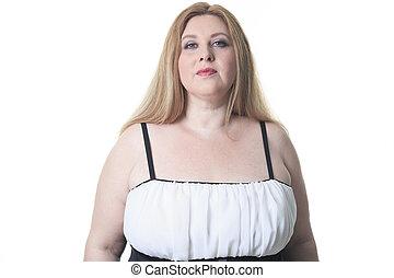 A fashion woman in studio white background