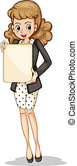 A fashionable businesswoman holding an empty signboard
