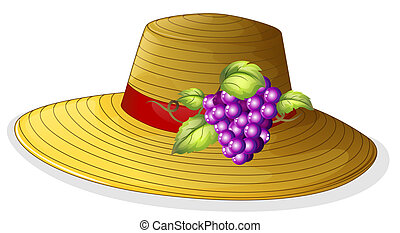 A fashionable hat with a fruit