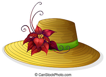 A fashionable hat with a plant