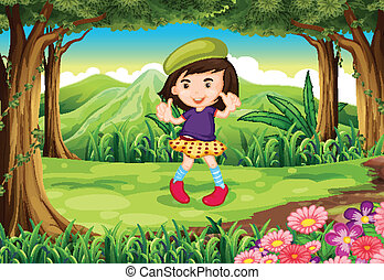 A fashionable young girl at the forest