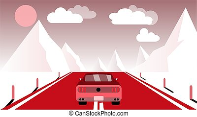 A fast racing sports red car rides a trip to the mountains along the road against the backdrop of pink mountains, sun and clouds. Concept: tourism in the mountains. Vector illustration.