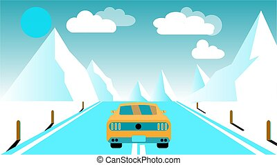 A fast racing sports yellow car rides a trip to the mountains along the road against a background of blue mountains, sun and clouds. Concept: tourism in the mountains. Vector illustration.
