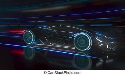 A fast sports car drives through a neon-lit tunnel. High quality 4k footage