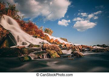 a fast waterfall near a quiet river
