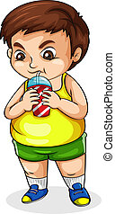 A fat Asian drinking softdrink - Illustration of a fat Asian...