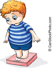 A fat Caucasian boy - Illustration of a fat Caucasian boy on...