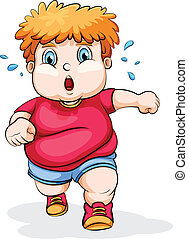 A fat Caucasian kid running - Illustration of a fat...