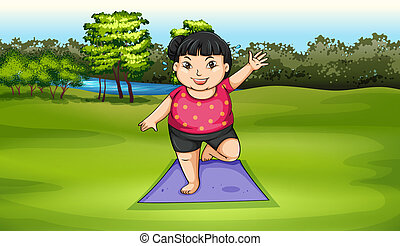 A fat girl exercising