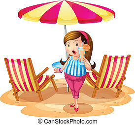 A fat girl holding a juice near the beach umbrella with chairs