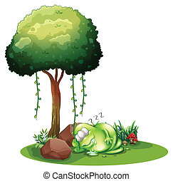 A fat green monster sleeping under the tree - Illustration...