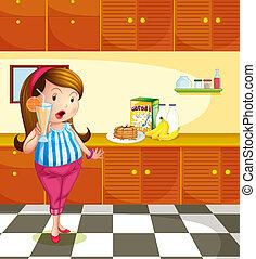 A fat lady holding a glass of orange juice